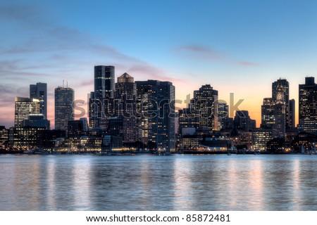 Boston skyline at sunset - stock photo