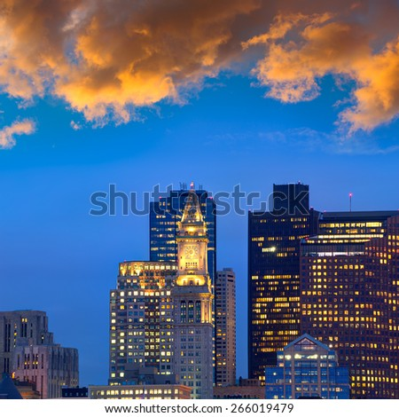 Boston skyline at sunset Custom tower Clock tower in Massachusetts USA - stock photo