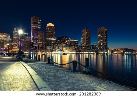 Boston skyline by night - Massachusetts - USA - stock photo