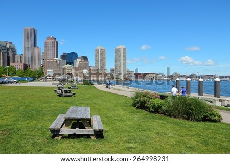 Boston skyline - city in Massachusetts, United States of America. - stock photo