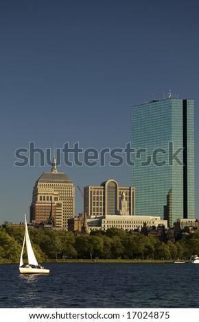 Boston Skyline (daylight) with john Hancock tower - stock photo