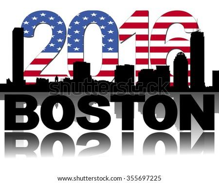 Boston skyline 2016 flag text illustration - stock photo