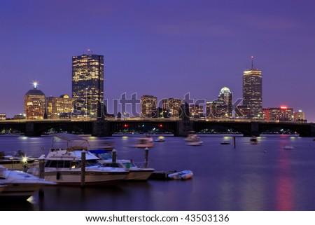 Boston skyline from Cambridge at twilight. - stock photo