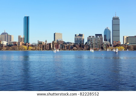 Boston skyline from Cambridge over the Charles River, Massachusetts, USA - stock photo