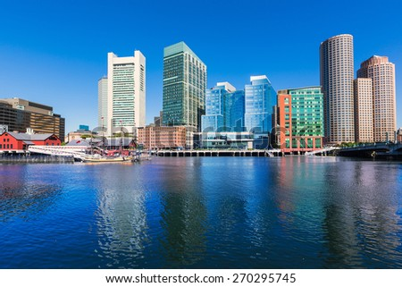 Boston skyline from Fan Pier at sunlight in Massachusetts USA - stock photo