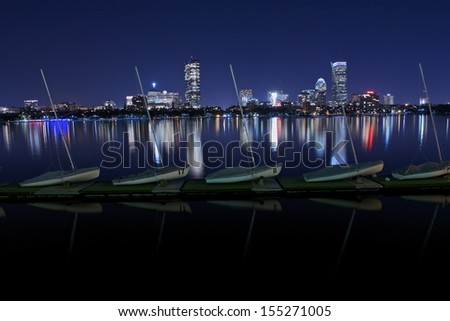 Boston skyline from Harvard University Sailing Center, Boston, MA, USA - stock photo
