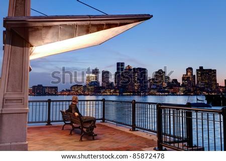 Boston skyline from pier - stock photo