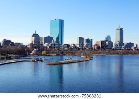 Boston skyline from the Charles River, Massachusetts, USA - stock photo