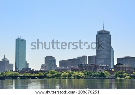 Boston skyline from the Charles river, USA - stock photo