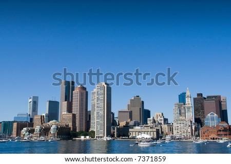 Boston skyline from the inner harbor - stock photo