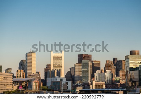 Boston skyline in early morning light from the harbor