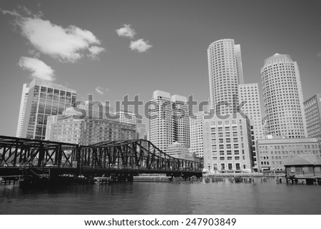 Boston skyline, Massachusetts in USA. Black and white tone - retro monochrome color style. - stock photo