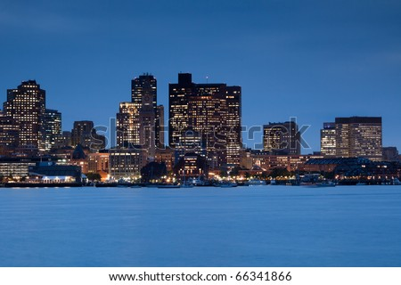 Boston skyline panorama with skyscrapers at dusk