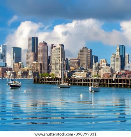 Boston skyline seen from Piers Park, Massachusetts, USA - stock photo