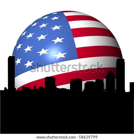 Boston skyline with American flag sphere illustration - stock photo