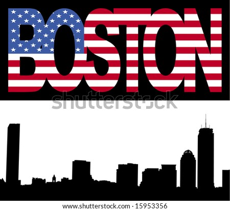 Boston skyline with Boston flag text illustration JPG - stock photo