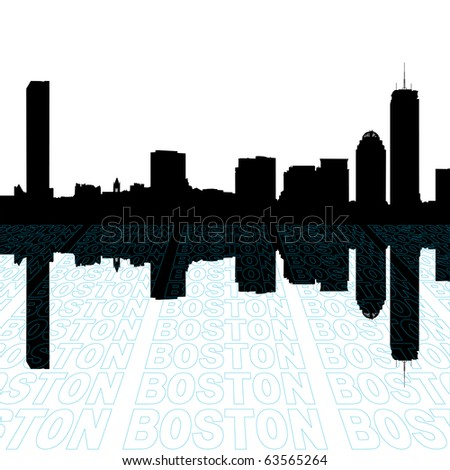 Boston skyline with perspective text outline foreground illustration JPEG
