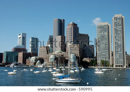 Boston skylines and sailboats on Charles river, Boston, Mass - stock photo