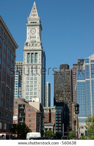 Boston street  including customs house clock-tower  high 496 ft , also  old and new buildings