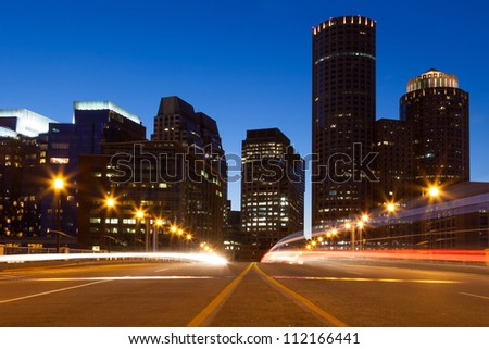 Boston streets by night, Massachusetts - USA - stock photo