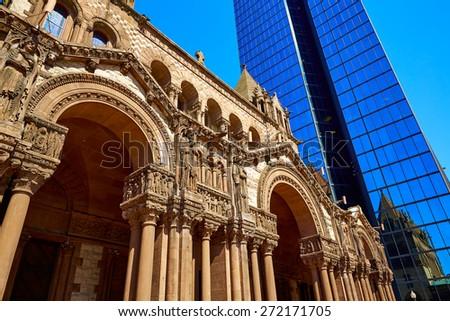 Boston Trinity Church at Copley Square in Massachusetts USA - stock photo
