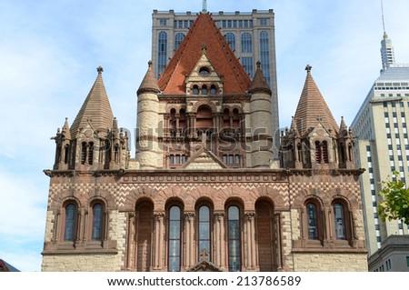 Boston Trinity Church in Copley Square, USA - stock photo