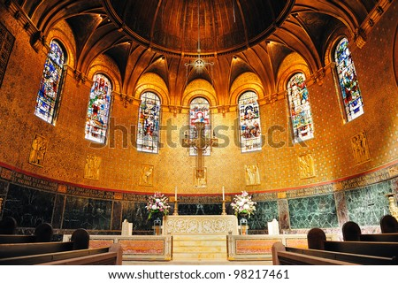 Boston Trinity Church interior view with beautiful pattern and decoration. - stock photo