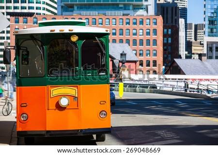 Boston trolley at Congress Street bridge in Massachusetts USA - stock photo