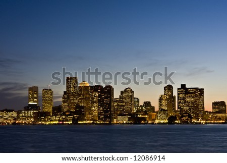 Boston Twilight Skyline Close - stock photo
