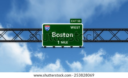 Boston USA Interstate Highway Sign 3D Illustration - stock photo