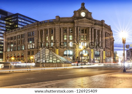 BOSTON, USA - JANUARY 19: Constructed in 1989, The South Station in Boston, MA is the largest train station and intercity bus terminal in Greater Boston. on January 19, 2013.