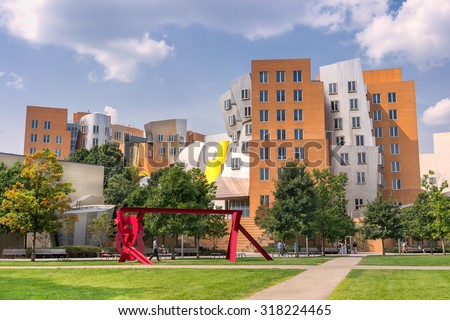 Boston, USA on 9th Sept 2015: The MIT Stata Center is  Building 32 is a 720,000 sq ft academic complex designed by Pritzker Prize-winning architect Frank Gehry for the MIT in Boston.  - stock photo