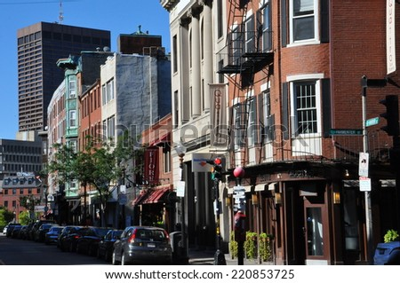 BOSTON, USA - SEP 14: Little Italy in Boston, as seen on Sep 14, 2014. Italian bakeries, restaurants, small shops, and groceries opened here in the first half of the 20th century. - stock photo