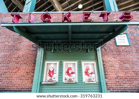 BOSTON, USA - SEPTEMBER 21The Fenway Park Stadium in Boston, MA, home of the Red Sox team, is the oldest baseball stadium still in use in the USA built in 1912 as seen on July 20, 2013. - stock photo