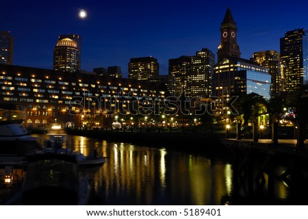 boston waterfront wharf at night - stock photo