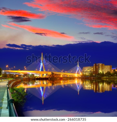 Boston Zakim bridge sunset in Bunker Hill Massachusetts USA - stock photo