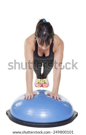 bosu ball workout - stock photo