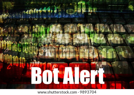 Bot Alert Warning Message on abstract technology background