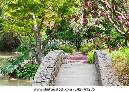 Botanic Garden at spring, Canterbury, South Island, New Zealand.