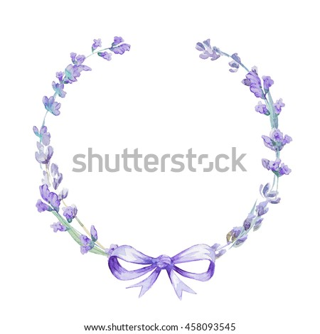 Watercolor Lavender Wreath With Bow Flowers Isolated On White Background