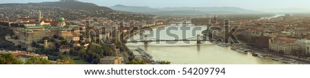 Both cities of Buda and Pesta panorama in the morning light - stock photo