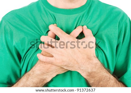 Both man's hands on breast because of hard breathing, horizontal, isolated on white - stock photo