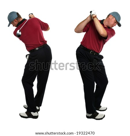 Both side views of a male golfer taking a swing with a golf club isolated on a white background. - stock photo