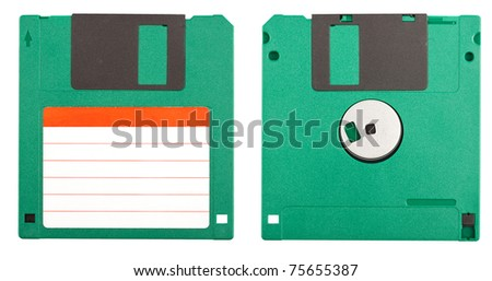 Both sides of a floppy disk isolated on white - stock photo