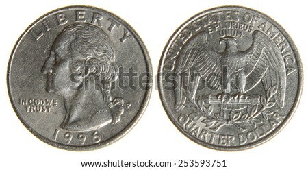 Both sides of an old (1966) US quarter, isolated on a white background.  - stock photo