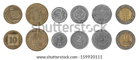 Both sides of Israeli coins isolated on the white background. Values: 10 Agorot; 1/2 a Shekel (50 Agorot); 1 Shekel; 2 Shekels (Shnekel); 5 Shekels; 10 Shekels  - stock photo
