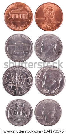 Both sides of USA coins isolated on white background. Values: 1 Cent (Penny); 5 Cents (Nickel); 10 Cents (Dime); 25 Cents (Quarter). - stock photo