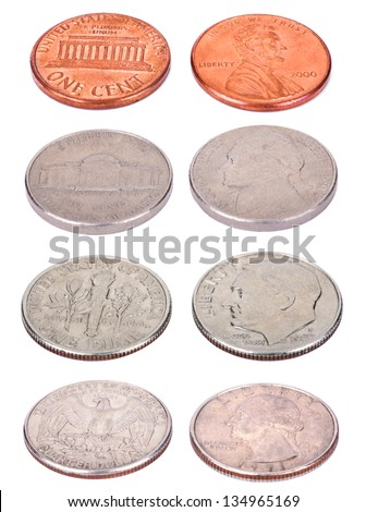 Both sides of USA coins, shot from a slightly high angle and isolated on white background. Values: 1 Cent (Penny); 5 Cents (Nickel); 10 Cents (Dime); 25 Cents (Quarter). - stock photo