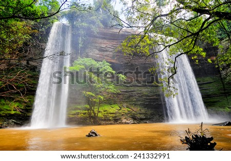Boti Falls is a 30m high waterfall within the Boti Forest Reserve about 30 minutes east of Koforidua. Situated in a village called Boti in the Manya Krobo district in the Eastern Region. - stock photo