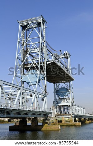 Botlek bridge in rotterdam Netherlands lifting to allow ships get across